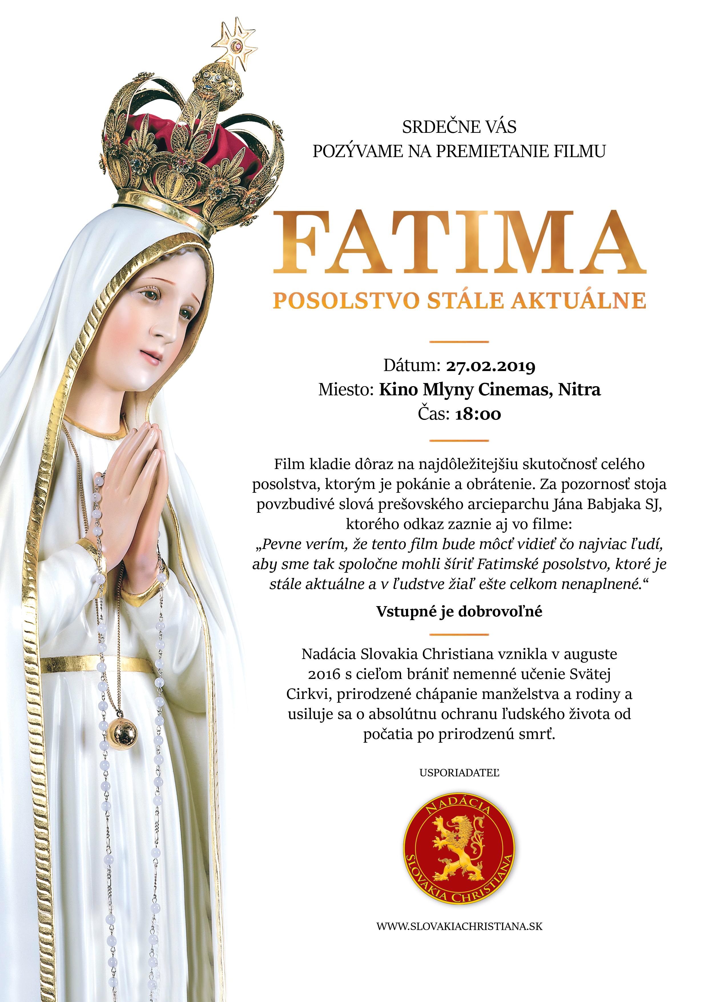 Nitra - premiéra filmu Fatima